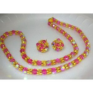 Vintage Costume Jewelry Vogue Pink Glass Crystal